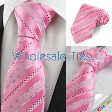Pink Blue Dotted Striped JACQUARD Mens Tie Necktie Wedding Party Prom Gift KT0016