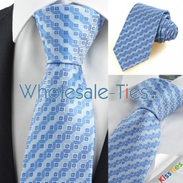 Blue Bronze Coin Checked Antique JACQUARD Mens Tie Necktie Holiday Gift KT0081