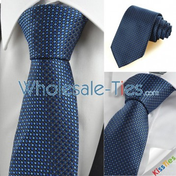 New Checked Navy Blue JACQUARD Formal Mens Tie Necktie Wedding Party Gift KT0115