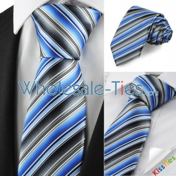 New Striped Mix Blue Grey Mens Tie Necktie Party Wedding Holiday Gift KT1067