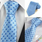 New Blue Navy Cross Checked Pattern JACQUARD Mens Tie Necktie Holiday Gift KT0041