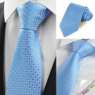 New Blue Checked Classic Mens Tie Necktie Wedding Party Holiday Prom GiftKT0056