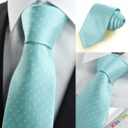 New White Dot Mint Blue JACQUARD Mens Tie Necktie Wedding Party Suit Gift KT0004