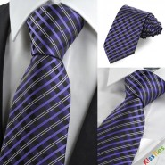 New Purple White Black Checked Classic Mens Tie Necktie Party Holiday Gift KT0013