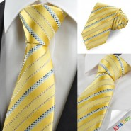 Tulip Yellow Golden Blue Dotted Striped Mens Tie Wedding Party Prom Gift KT0017