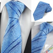 Blue Paisley Floral Striped JACQUARD Mens Tie Necktie Unique Wedding Gift KT0018