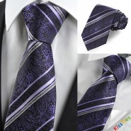 Purple Paisley Striped Mens Tie Necktie Luxury Wedding Party Holiday Gift KT0019