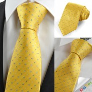 Blue Checked Tulip Yellow Golden Mens Tie Necktie Wedding Holiday Gift KT0023