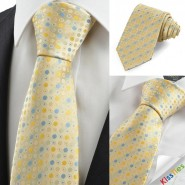 Yellow Blue Polka Dot Circle JACQUARD Mens Tie Necktie Wedding Party Gift KT0030