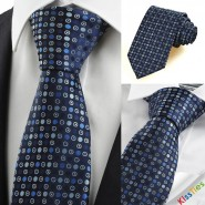 Navy Blue Polka Dot Circle Pattern Mens Tie Necktie Formal Business Gift KT0032