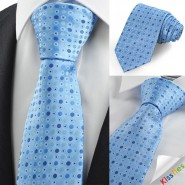 Blue Polka Dot Bubble Circle Pattern Mens Tie Necktie Wedding Holiday Gift KT0033