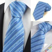 Blue Flora Pattern Striped Mens Tie Necktie Formal Wedding Holiday Gift KT0035
