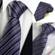 Purple Flora Pattern Striped Mens Tie Necktie Formal Wedding Holiday Gift KT0036