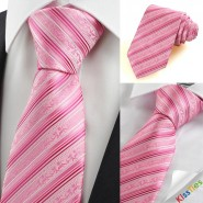 New Pink Flora Pattern Striped Mens Tie Necktie Wedding Party Holiday Gift KT0037