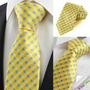 New Yellow Blue Cross Checked Pattern Mens Tie Necktie Wedding Party Gift KT0038