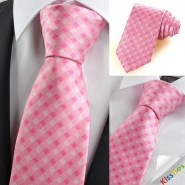 Pink White Cross Check Classic Mens Tie Necktie Wedding Party Holiday Gift KT0042