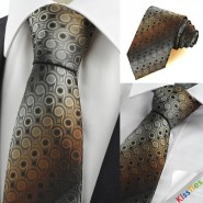 Unique Brown Gradient Swirl Paisley Pattern JACQUARD Mens Tie Necktie Gift KT0044