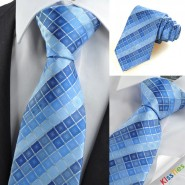New Blue Checked Mens Tie Suit Necktie Formal Wedding Holiday Special Gift KT0049