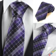 New Purple Plaid Checked Mens Tie Suit Necktie Formal Wedding Holiday Gift KT0050