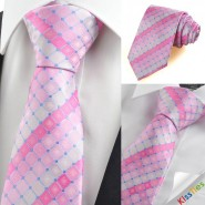 New Pink Plaid Checked Gitter Mens Tie Necktie Wedding Party Holiday Gift KT0051