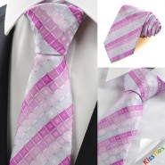 New Lilac Violet Pink Checked Mens Tie Necktie Wedding Party Holiday Gift KT0052