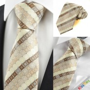 New Ivory Beige Brown Checked Mens Tie Necktie Wedding Party Holiday Gift KT0053