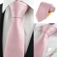 New Pink Checked Mens Tie Necktie Lovely Wedding Party Holiday Prom Gift KT0057