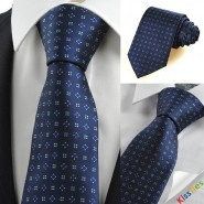 New Navy Blue Flora Checked Classic Mens Tie Necktie Wedding Holiday Gift KT0067