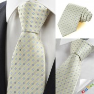 New Beige Ivory Blue Flora Checked Classic Mens Tie Necktie Wedding Gift KT0068