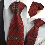 Dark Red Burgundy Gradient Checked Mens Tie Necktie Wedding Holiday Gift KT0076