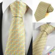 New Yellow Dark Golden Bronze Coin Checked JACQUARD Mens Tie Necktie Gift KT0078