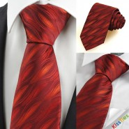 Red Burgundy Ripple Wave Mens Tie Necktie Wedding Party Valentines Gift KT0085