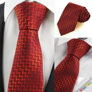 New Red Burgundy Diamond Pattern Mens Tie Necktie Wedding Party Prom Gift KT0088