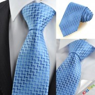 New Blue Diamond Pattern Mens Tie Suit Necktie Wedding Party Holiday Gift KT0089