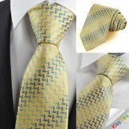 Yellow Golden Blue Diamond Pattern Mens Tie Necktie Formal Holiday Gift KT0090