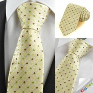 Tulip Yellow Green Bohemian Floral Checked Mens Tie Necktie Holiday Gift KT0094