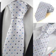 Lilac Blue Bohemian Floral Checked Mens Tie Necktie Meeting Friend Gift KT0095