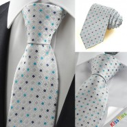 Silver Grey Blue Bohemian Floral Checked Suit Mens Tie Necktie Party Gift KT0096