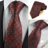 Red Black Bohemian Floral Antique Checked Mens Tie Necktie Wedding Gift KT0097