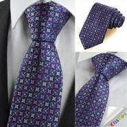 Purple Navy Bohemian Floral Checked Novelty Unique Mens Tie Necktie Gift KT0098