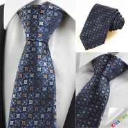 Brown Blue Bohemian Floral Checked Novelty Formal Mens Tie Suit Necktie KT0099