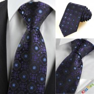 Purple Black Bohemian Floral Checked Fashion Mens Tie Necktie Holiday Gift KT0100