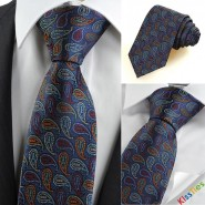 New Colorful Paisley Navy Novelty Unique Formal Mens Tie Suit Necktie Gift KT0104