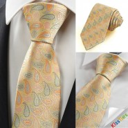 New Year Colorful Paisley Light Golden Mens Tie Suit Necktie Wedding Gift KT0107
