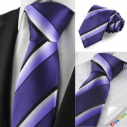 Striped White Purple Black Mens Tie Necktie Formal Wedding Holiday Gift KT1027