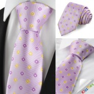 Check Pattern Purple Golden Mens Tie Formal Necktie Wedding Holiday Gift KT1041