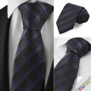 Checked Pattern Purple Black Mens Tie Formal Necktie Wedding Holiday Gift KT1053