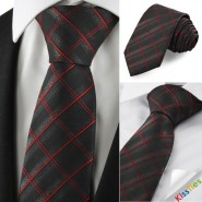 New Checked Pattern Red Black Men Tie Formal Necktie Wedding Holiday Gift KT1054