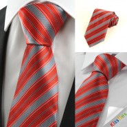 New Striped Red JACQUARD Mens Tie Necktie Wedding Party Holiday Prom Gift#0011