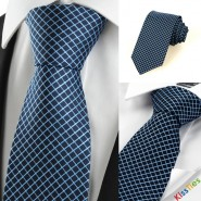 New Squared Checked avy JACQUARD Mens Tie Necktie Wedding Holiday Gift #0027